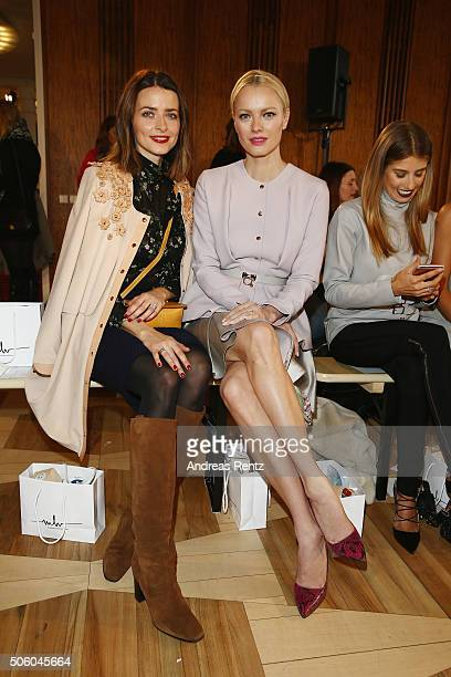 Eva Padberg and Franziska Knuppe attend the Marina Hoermanseder show as part of Der Berliner Mode Salon during the MercedesBenz Fashion Week Berlin...