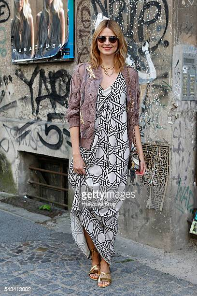 Eva Padberg attends the Dawid Tomaszewski show during the MercedesBenz Fashion Week Berlin Spring/Summer 2017 at Stage at me Collectors Room on June...