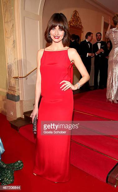 Eva Padberg wearing a dress by BOSS poses wearing jewellery by Bulgari during the Gala Spa Awards 2015 at Brenners ParkHotel Spa on March 21 2015 in...