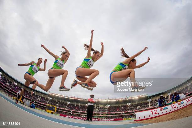 Eva Pepelnak of Slovenia competes in the girls triple jump during day 4 of the IAAF U18 World Championships at Moi International Sports Centre...