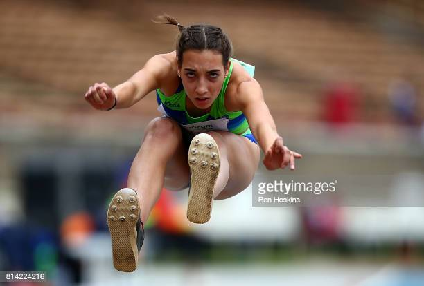Eva Pepelnak of Slovenia in action during qualification for the girls triple jump on day three of the IAAF U18 World Championships at the Kasarani...