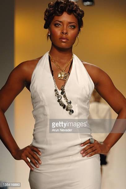 Eva Pigford wearing NAQADA Spring 2006 during MercedesBenz Spring 2006 LA Fashion Week at Smashbox Studios NAQADA Runway at Smashbox Studios in...