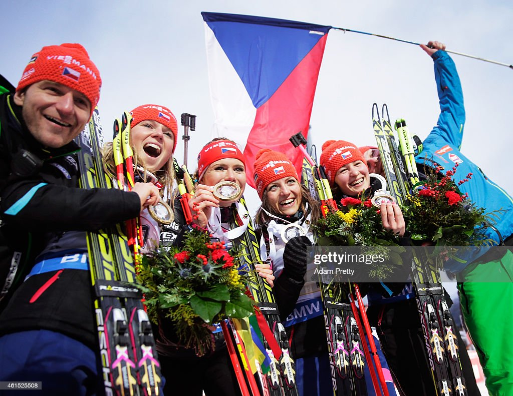 Eva Puskarcikova, Gabriela Soukalova, Jitka Landova and Veronika Vitkova of the Czech Rebublic celebrate victory in the IBU Biathlon World Cup Women's Relay on January 14, 2015 in Ruhpolding, Germany.