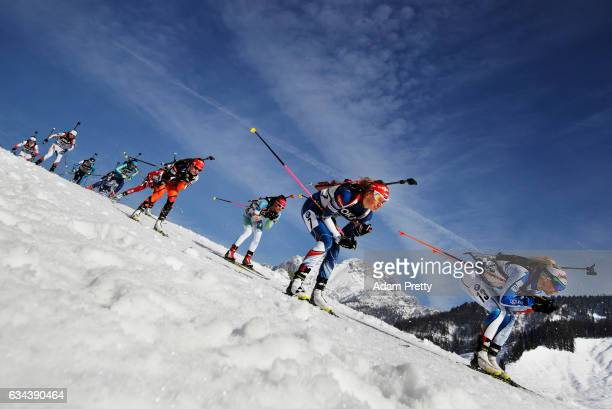 Eva Puskarcikova of the Czech Republic and Mari Laukkanen of Finland compete in the first leg of the Mixed Relay competition of the IBU World...