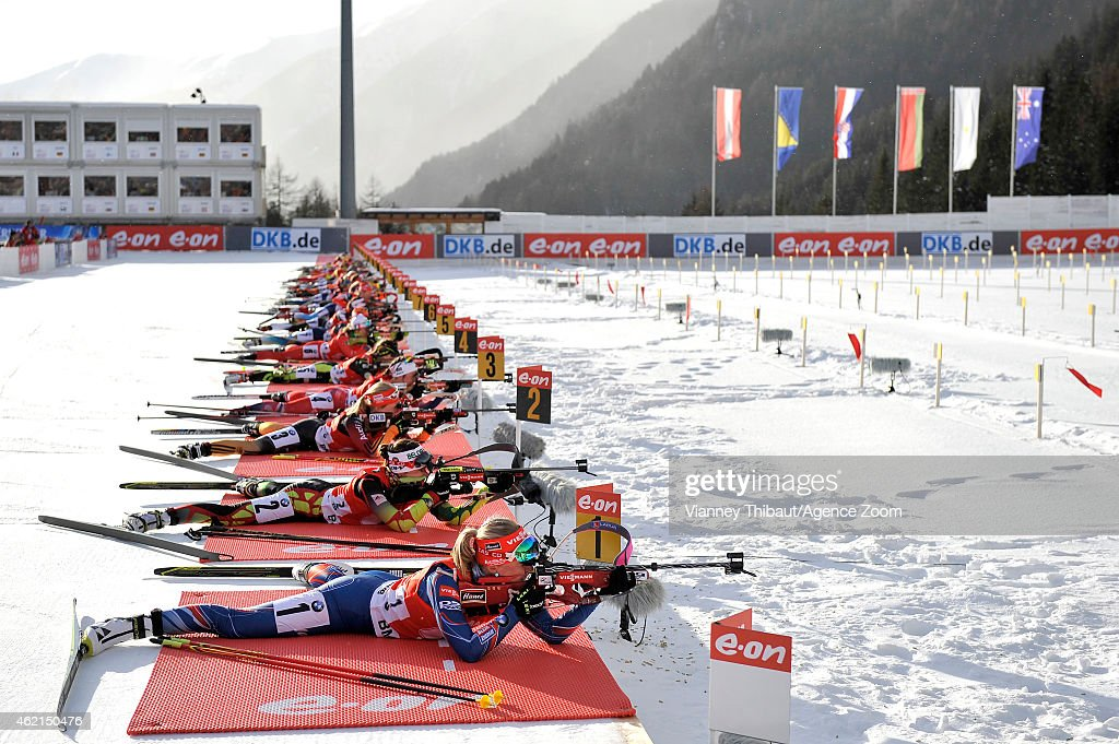 Eva Puskarcikova of the Czech Republic takes 2nd place during the IBU Biathlon World Cup Men's and Women's Relay on January 25 2015 in...