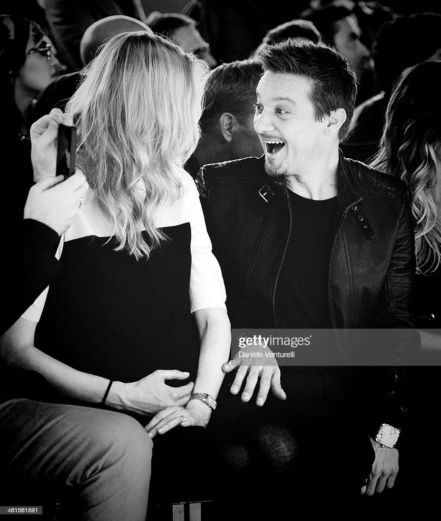 Eva Riccobono and actor Jeremy Renner attends Diesel Black Gold during the Pitti Immagine Uomo 85 on January 8, 2014 in Florence, Italy.