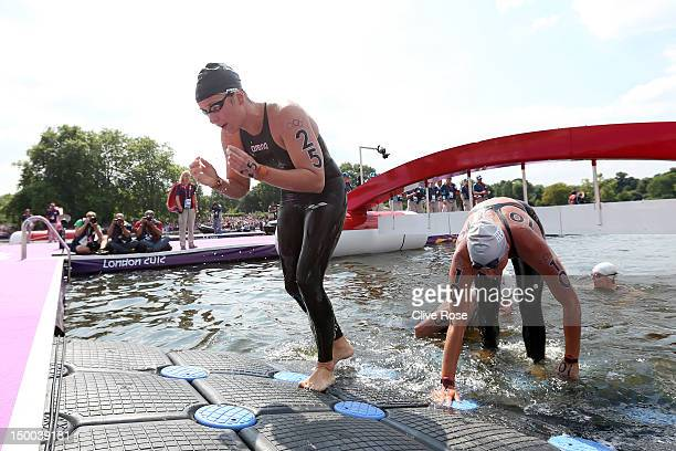 Eva Risztov of Hungary celebrates after winning the gold medal in the Women's Marathon 10km Swimming at Hyde Park on August 9 2012 in London England
