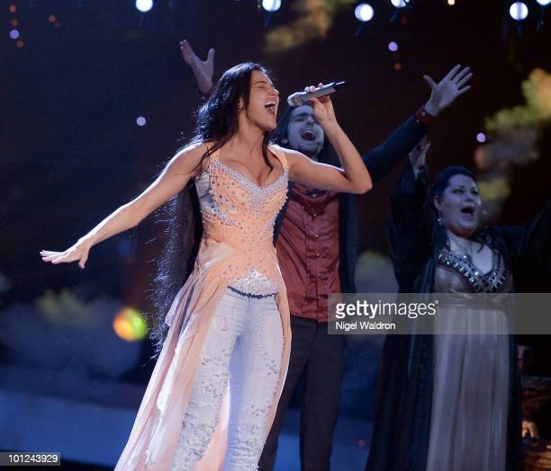 Eva Rivas of Armenia performs during the final dress rehearsal of the Eurovision Song Contest on 28 May 2010 on May 28 2010 in Oslo Norway