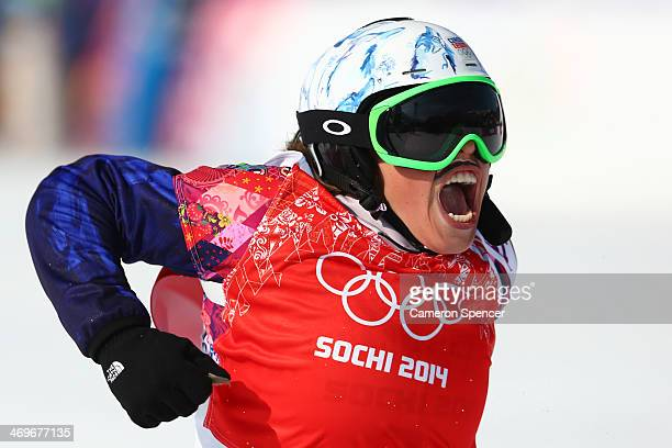 Eva Samkova of the Czech Republic celebrates winning the the Ladies' Snowboard Cross Finals on day nine of the Sochi 2014 Winter Olympics at Rosa...