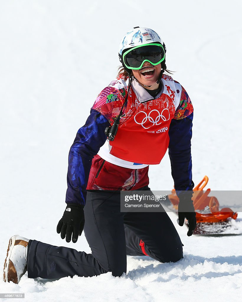 Eva Samkova of the Czech Republic celebrates winning the the Ladies' Snowboard Cross Finals on day nine of the Sochi 2014 Winter Olympics at Rosa Khutor Extreme Park on February 16, 2014 in Sochi, Russia.