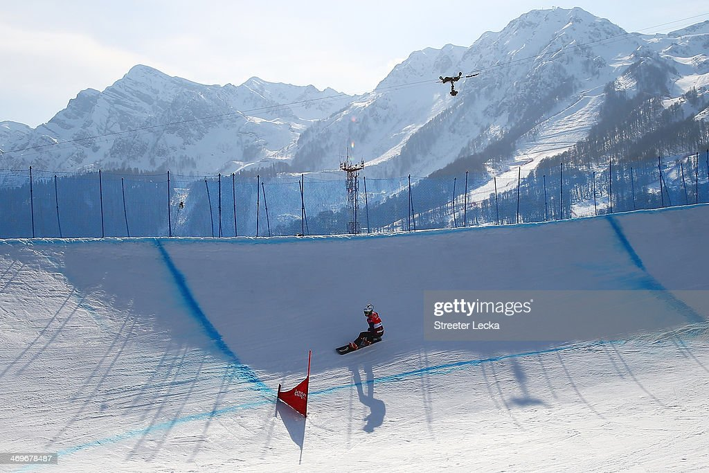 Eva Samkova of the Czech Republic leads the group during the Ladies' Snowboard Cross Final on day nine of the Sochi 2014 Winter Olympics at Rosa Khutor Extreme Park on February 16, 2014 in Sochi, Russia.