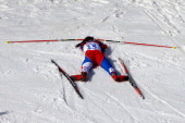 Eva VrabcovaNyvltova of the Czech Republic collapses after the Women's 30 km Mass Start Free during day 15 of the Sochi 2014 Winter Olympics at Laura...