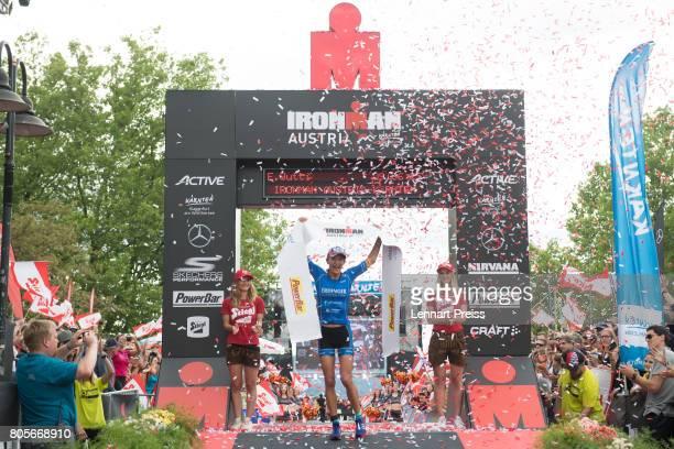 Eva Wutti of Austria celebrates winning the Ironman Austria on July 2 2017 in Klagenfurt Austria