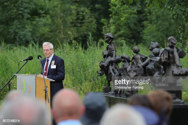 WWII evacuee Michael Aspel views 'Every Which Way' The British Evacuees Association Memorial after it was unveiled today by HRH The Duke of...