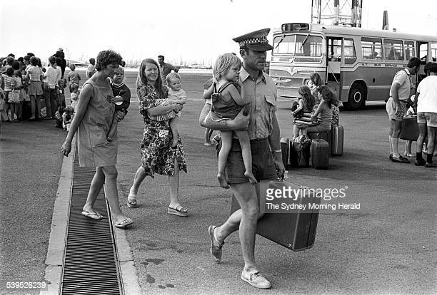 Evacuees boarding planes at Darwin Airport after Cyclone Tracy 27 December 1974 SMH Picture by VIC SUMNER