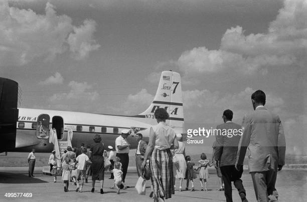Evacuees from Baghdad boarding a flight at Esenboga Airport Ankara Turkey 25th July 1958 The passengers have left Iraq following the coup d'état also...