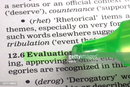 Evaluation Definition Highligted In Dictionary Stock Photo | Getty