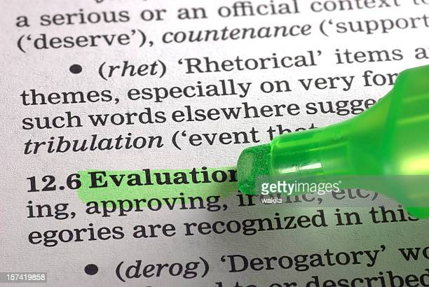 evaluation definition highligted in dictionary