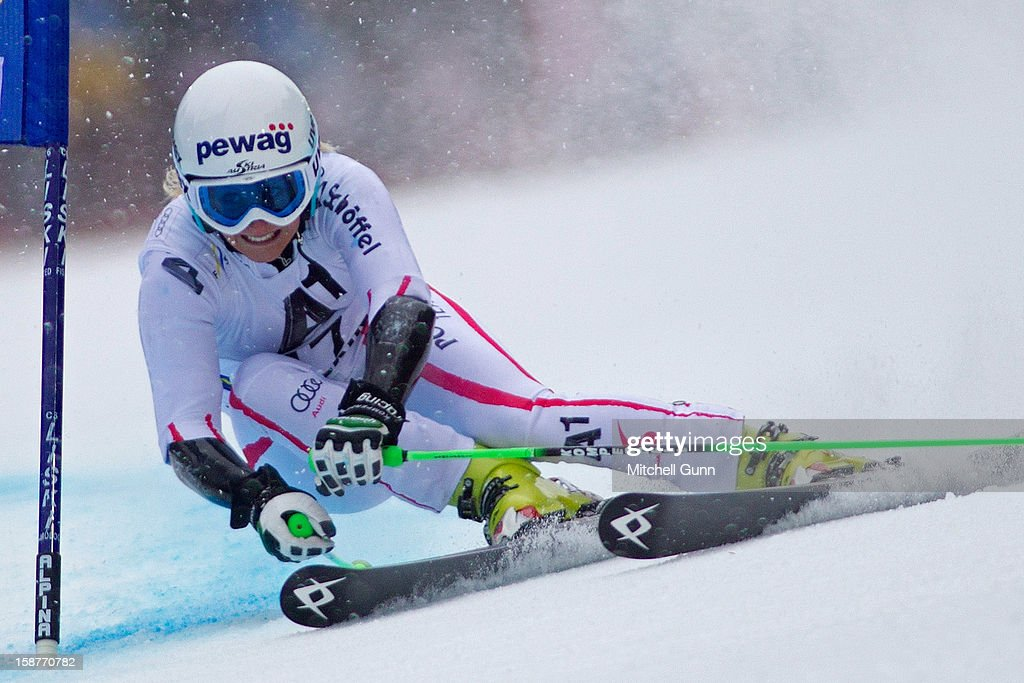 Eva-Maria Brem of Austria competes in the Audi FIS Alpine Ski World Cup Giant Slalom Race on December 28, 2012 in Semmering, Austria.