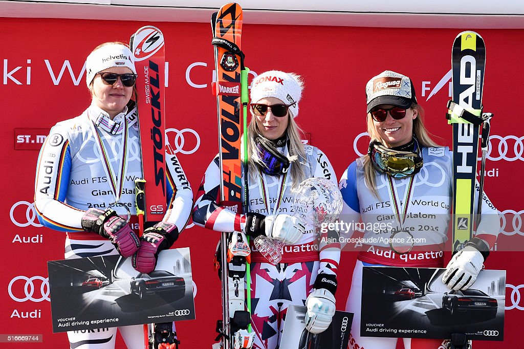 <a gi-track='captionPersonalityLinkClicked' href=/galleries/search?phrase=Eva-Maria+Brem&family=editorial&specificpeople=4667683 ng-click='$event.stopPropagation()'>Eva-Maria Brem</a> of Austria wins the giant slalom crystal globe, <a gi-track='captionPersonalityLinkClicked' href=/galleries/search?phrase=Viktoria+Rebensburg&family=editorial&specificpeople=4152387 ng-click='$event.stopPropagation()'>Viktoria Rebensburg</a> of Germany takes 2nd place in the overall giant slalom standings, <a gi-track='captionPersonalityLinkClicked' href=/galleries/search?phrase=Lara+Gut&family=editorial&specificpeople=4860592 ng-click='$event.stopPropagation()'>Lara Gut</a> of Switzerland takes 3rd place in the overall giant slalom standings during the Audi FIS Alpine Ski World Cup Finals Men's Slalom and Women's Giant Slalom on March 20, 2016 in St. Moritz, Switzerland.