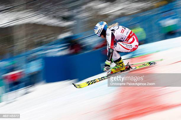 EvaMaria Brem of Team Austria wins a gold medal during the FIS Alpine World Ski Championships Nations Team Event on February 10 2015 in Beaver Creek...
