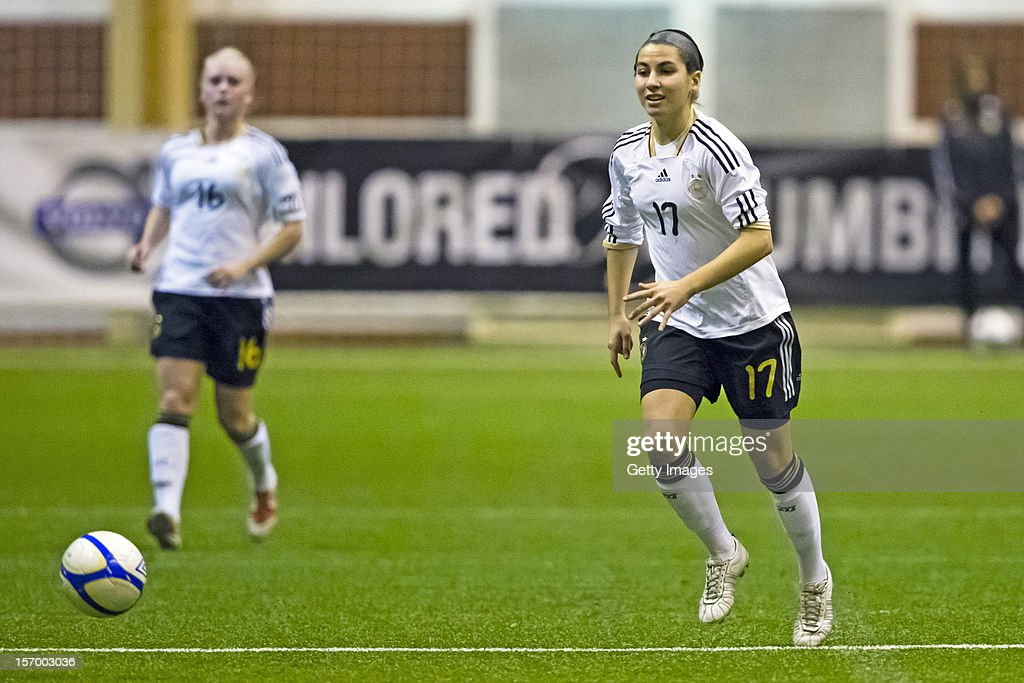 Eva-Maria Virsinger of Germany running with the ball during the Under 19 Women's international friendly between Sweden and Germany at Tipshallen Stadium on November 21, 2012 in Vaxjo, Sweden.