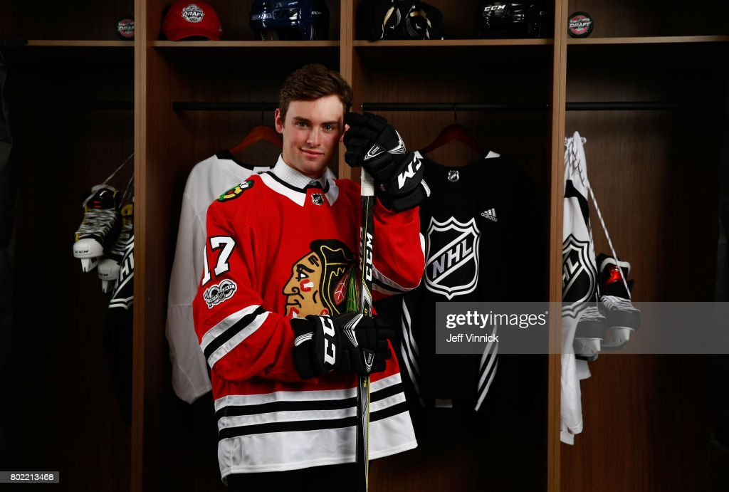 Evan Barratt, 90th overall pick of the Chicago Blackhawks, poses for a portrait during the 2017 NHL Draft at United Center on June 24, 2017 in Chicago, Illinois.