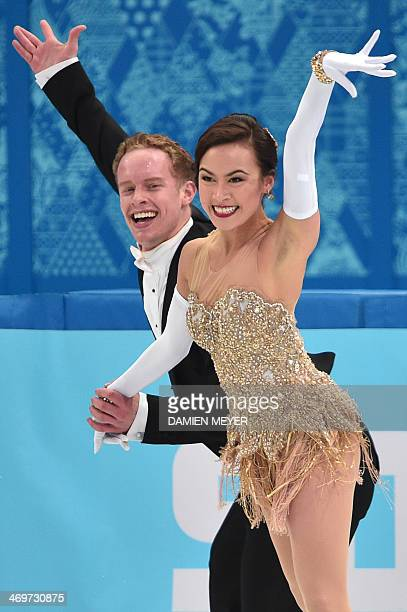 US Evan Bates and US Madison Chock perform in the Figure Skating Ice Dance Short Dance at the Iceberg Skating Palace during the Sochi Winter Olympics...