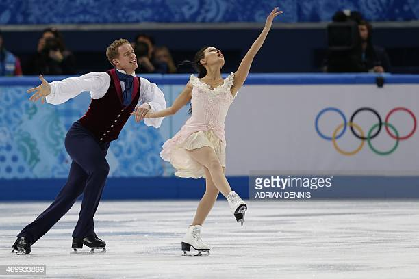 US Evan Bates and US Madison Chock perform in the Figure Skating Ice Dance Free Dance at the Iceberg Skating Palace during the Sochi Winter Olympics...