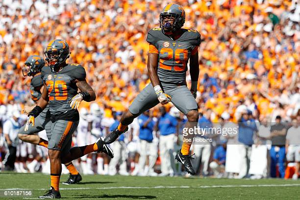 Evan Berry of the Tennessee Volunteers reacts after a fumble recovery against the Florida Gators in the first quarter at Neyland Stadium on September...
