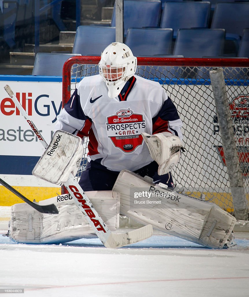 Evan Cowley #1 of Team McClanahan takes part in the morning skate prior to the USA Hockey All-American Prospects Game at the First Niagara Center on September 29, 2012 in Buffalo, New York.