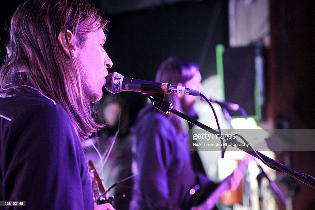 Evan Dando (L) of The Lemonheads performs on February 2, 2012 in Aspen, Colorado.