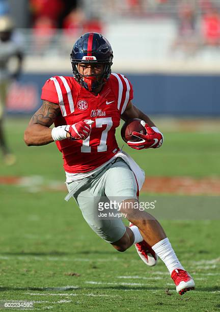 Evan Engram of the Mississippi Rebels runs after the catch against the Wofford Terriers on September 10 2016 at VaughtHemingway Stadium in Oxford...