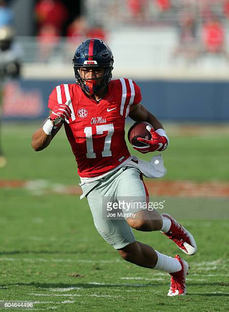 Evan Engram of the Mississippi Rebels runs with the ball after the catch against the Wofford Terriers on September 10 2016 at VaughtHemingway Stadium...
