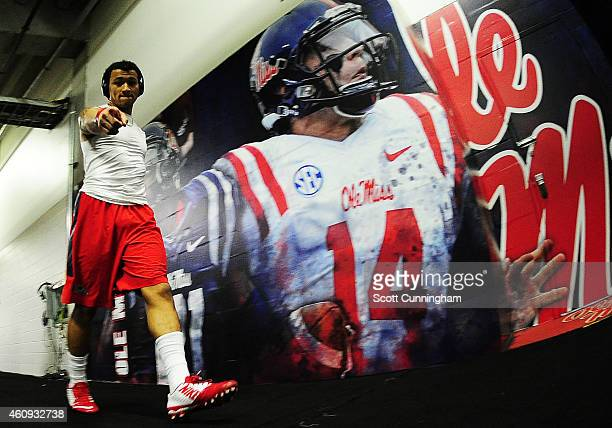 Evan Engram of the Ole Miss Rebels walks to the locker room prior to their game against the TCU Horned Frogs for the ChikfilA Peach Bowl at Georgia...