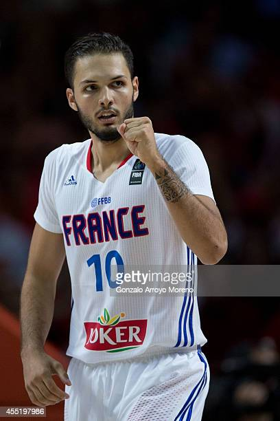 Evan Fournier of France celebrates during the 2014 FIBA World Basketball Championship quarter final match between France and Spain at Palacio de los...
