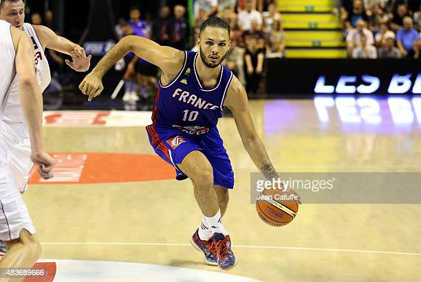 Evan Fournier of France in action during the international friendly basketball match between France and Russia in preparation of Euro Basket 2015 at...