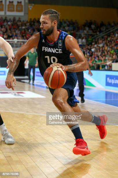 Evan Fournier of France is going to the basket during the international friendly game between France v Lithuania at Palais des Sports on August 10...