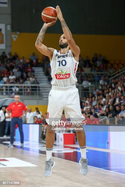 Evan Fournier of France is shooting the basket during the international friendly game between France and Croatia at Palais des Sports on August 8...