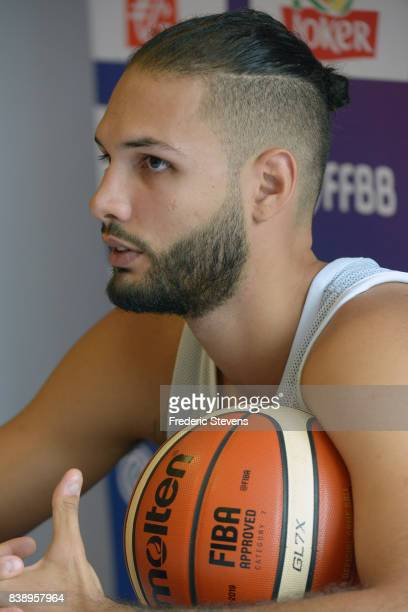 Evan Fournier of France's men's national basketball team during the press conference after the training session at Palais des Sports on August 25...