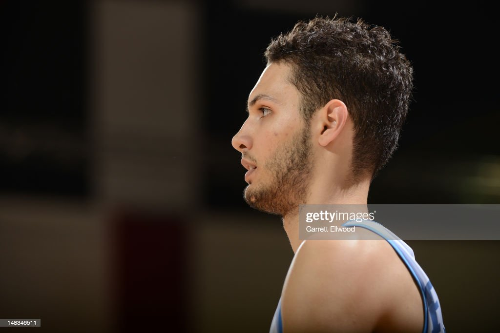 Evan Fournier #94 of he Denver Nuggets looks on versus the Golden State Warriors during NBA Summer League on July 14, 2012 at Cox Pavilion in Las Vegas, Nevada.