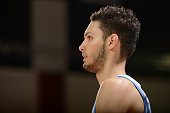 Evan Fournier of he Denver Nuggets looks on versus the Golden State Warriors during NBA Summer League on July 14 2012 at Cox Pavilion in Las Vegas...