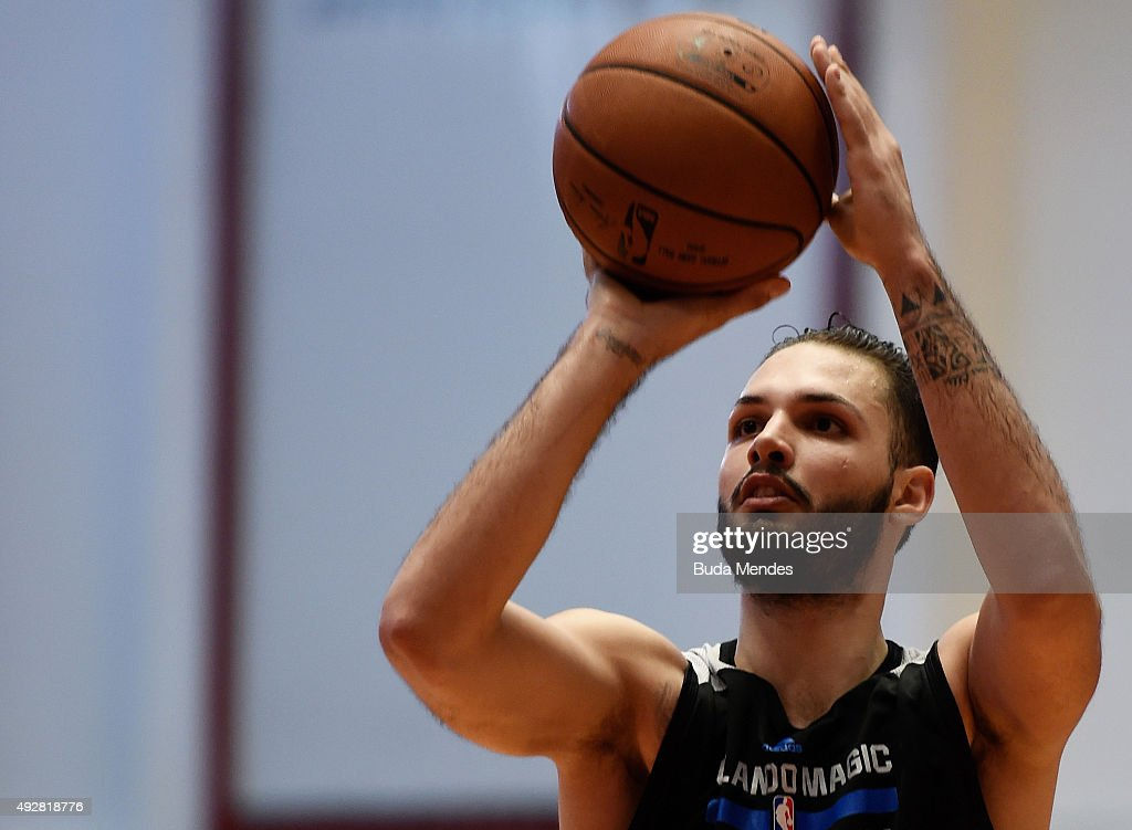 Evan Fournier of Orlando Magic in action during a NBA Global Games Rio 2015 - Practice Day on October 15, 2015 in Rio de Janeiro, Brazil.