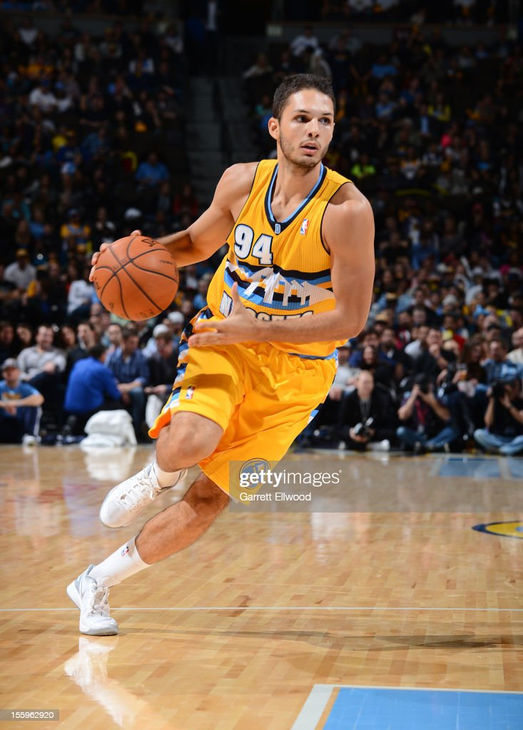<a gi-track='captionPersonalityLinkClicked' href=/galleries/search?phrase=Evan+Fournier&family=editorial&specificpeople=7285162 ng-click='$event.stopPropagation()'>Evan Fournier</a> #94 of the Denver Nuggets drives against the Utah Jazz on November 9, 2012 at the Pepsi Center in Denver, Colorado.