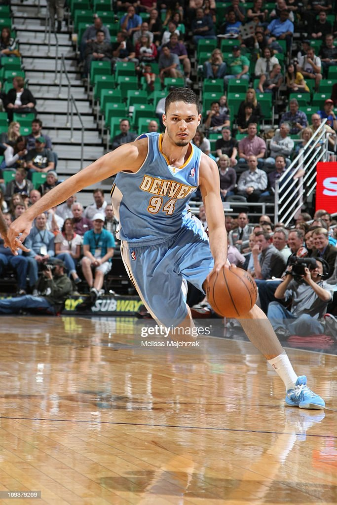 <a gi-track='captionPersonalityLinkClicked' href=/galleries/search?phrase=Evan+Fournier&family=editorial&specificpeople=7285162 ng-click='$event.stopPropagation()'>Evan Fournier</a> #94 of the Denver Nuggets drives to the basket against the Utah Jazz at Energy Solutions Arena on April 3, 2013 in Salt Lake City, Utah.