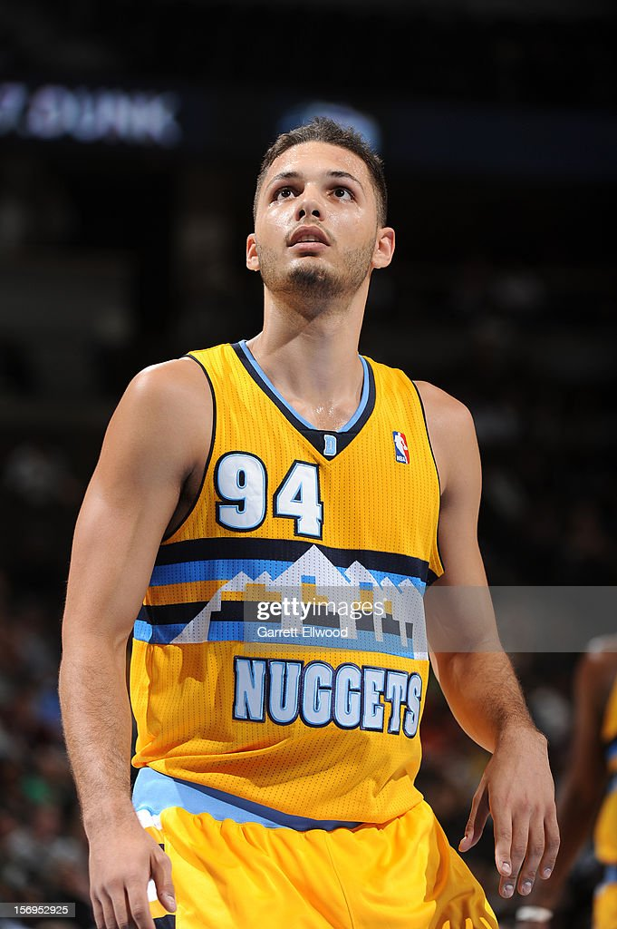 Evan Fournier #94 of the Denver Nuggets looks on during the game between the New Orleans Hornets and the Denver Nuggets on November 25, 2012 at the Pepsi Center in Denver, Colorado.