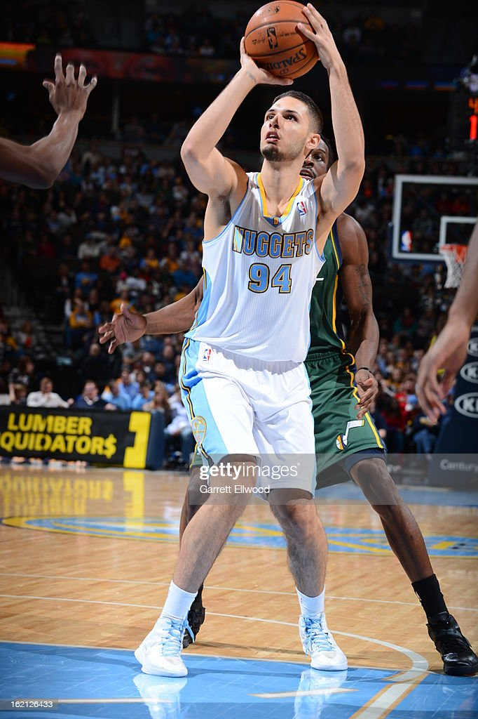 Evan Fournier #94 of the Denver Nuggets looks to shoot against the Utah Jazz on January 5, 2013 at the Pepsi Center in Denver, Colorado.