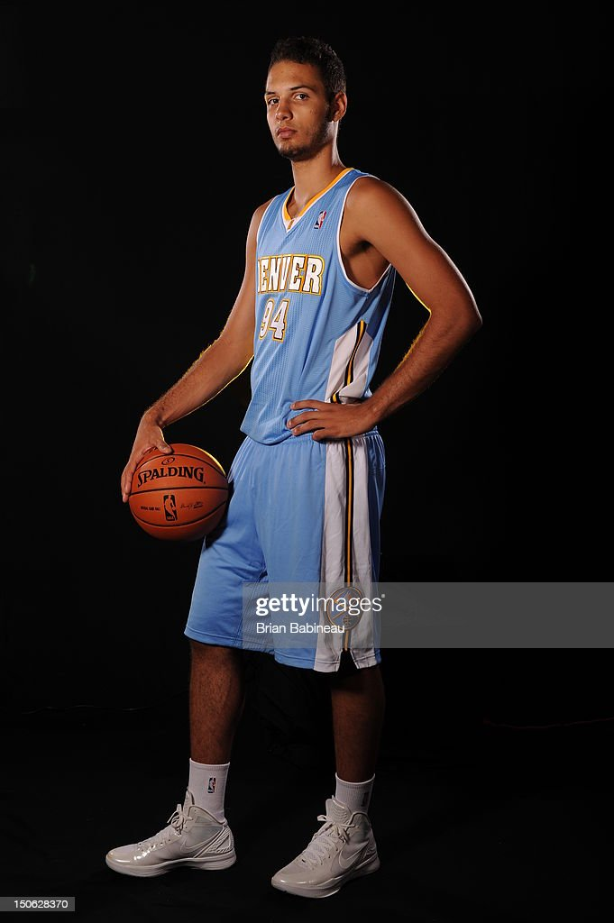 Evan Fournier of the Denver Nuggets poses for a portrait during the 2012 NBA rookie photo shoot on August 21, 2012 at the MSG Training Facility in Tarrytown, New York.