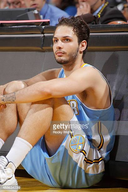 Evan Fournier of the Denver Nuggets while facing the Golden State Warriors on April 10 2014 at Oracle Arena in Oakland California NOTE TO USER User...