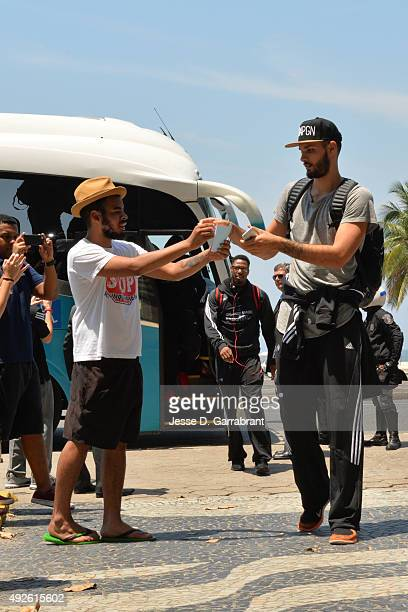 Evan Fournier of the Orlando Magic arrives at the JW Marriott hotel as part of the 2015 Global Games on October 14 2015 in Rio de Janiero Brazil NOTE...